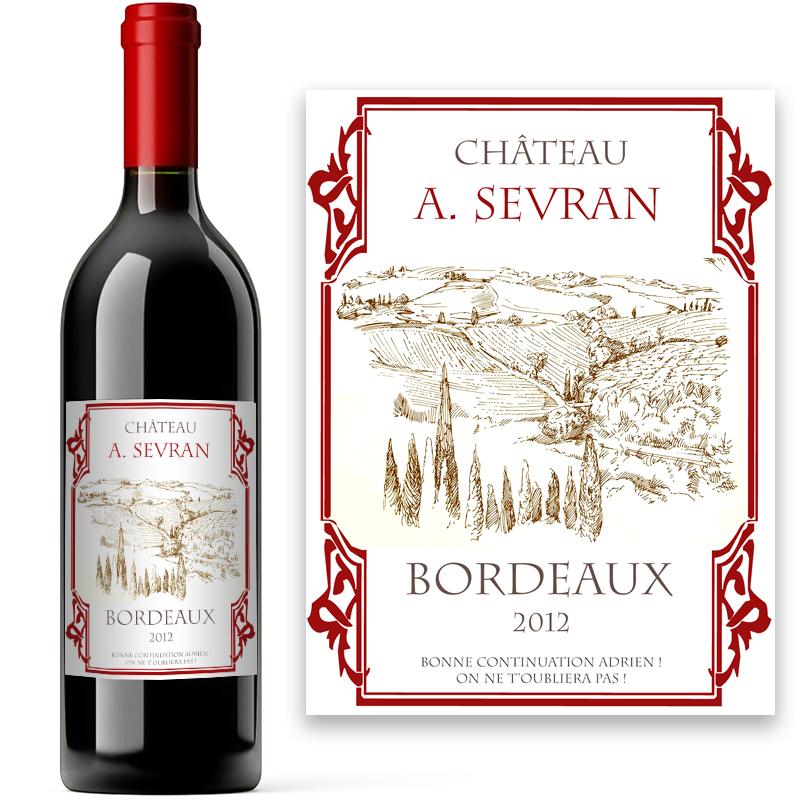 Bouteille de vin de bordeaux avec tiquette personnalis e for Bouteille de vin personnalisee montreal