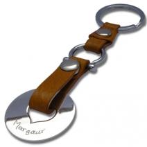 Porte clé gravé coeur marron