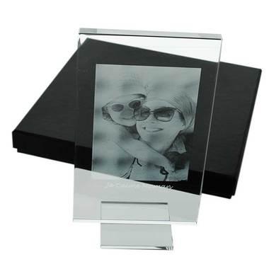 Cadre en verre avec photo gravée au laser
