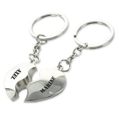 Porte clés coeurs duo gravés