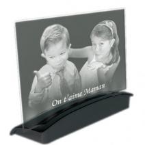plaque en verre gravée avec sa photo