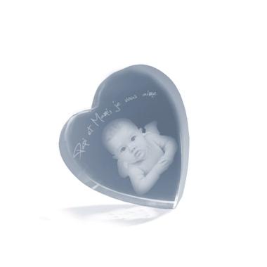 Coeur en verre gravé avec sa photo