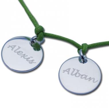 Bracelet gravé deux médailles rondes
