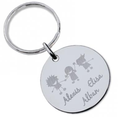 Porte-clés silhouettes gravé