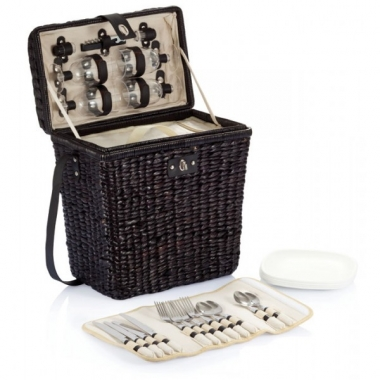 Panier de pique nique en bambou isotherme et set de couverts - Pique nique original ...