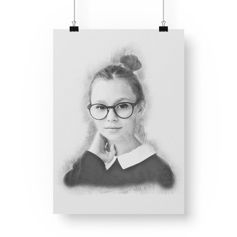 Portrait style fusain classique