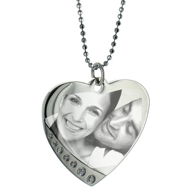 Pendentif photo coeur strass
