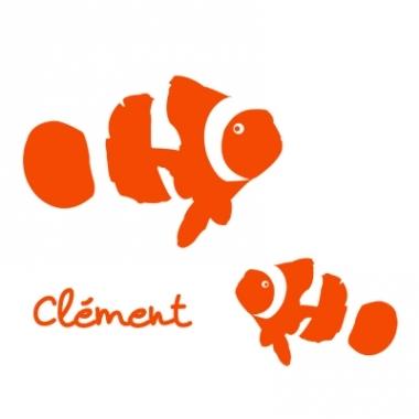 Stickers prénom poisson clown