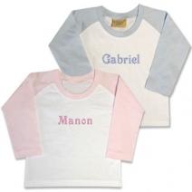 t-shirt bébé bicolore personnalisé