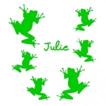 Stickers prénom 6 grenouilles