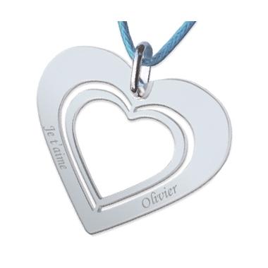 Pendentif double coeur ajouré gravé