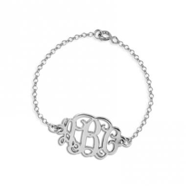 Bracelet initiales monogramme argent massif