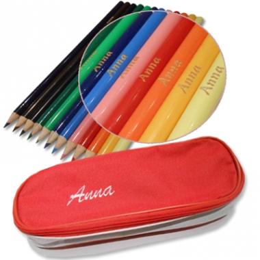 Trousse personnalisée crayons de couleurs gravés
