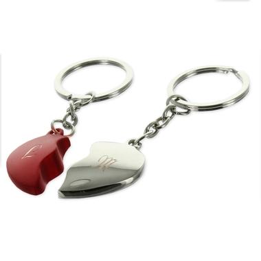 Porte-clés coeur sécable initiales