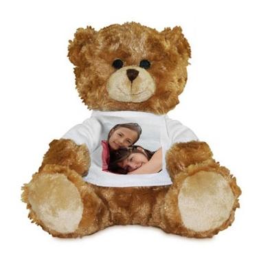 Peluche photo personnalisée ours brun