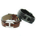 Bracelet cuir et acier gravé