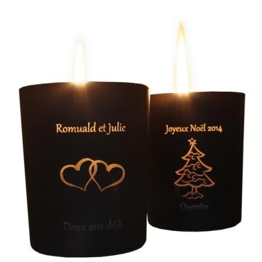 bougies personnalis es avec un texte et un motif. Black Bedroom Furniture Sets. Home Design Ideas