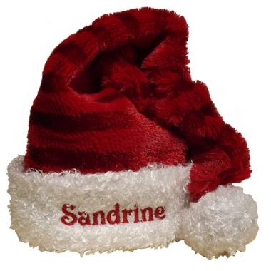 Bonnet de Noël rayé brodé avec un prénom