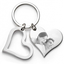 Porte-clés double coeurs gravé photo