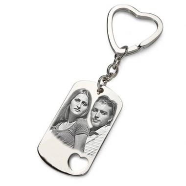 Porte-clés photo plaque coeur ajouré