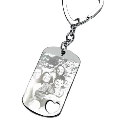 Porte-clés plaque coeur ajouré gravé avec photo