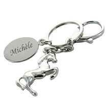 Porte-clés cheval médaille gravée