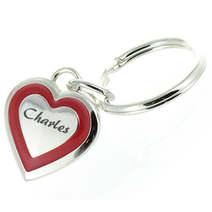 Porte-clés coeur rouge gravé
