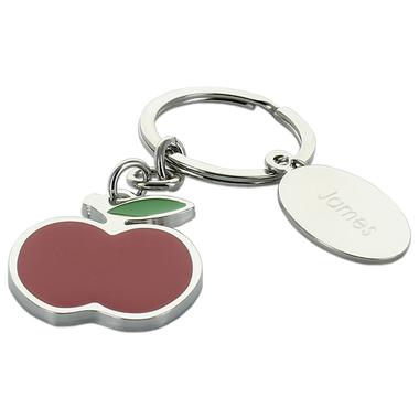 Porte-clés pomme rouge gravé