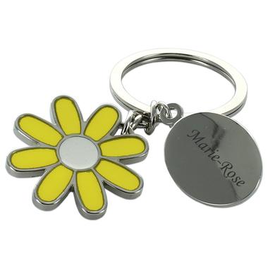 Porte-clés fleur des champs gravé
