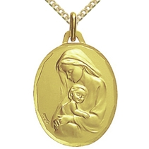 Médaille ovale Vierge à l'enfant tendresse
