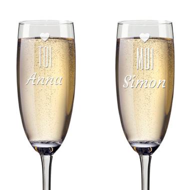 Flûtes À champagne personnalisées st valentin