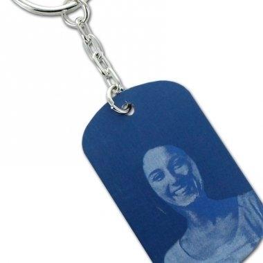 Porte-clés plaque bleu personnalisé