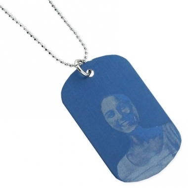 Pendentif plaque bleu personnalisé