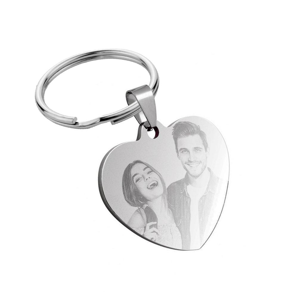 Porte-clés coeur photo gravé