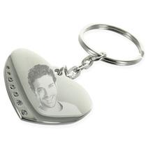 Porte-clés coeur photo strass gravé
