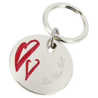Porte-clés rond deux coeurs