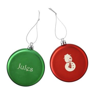 Boules de Noël plates motif et prénom