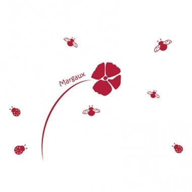 Stickers personnalisés fleur et coccinelles
