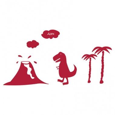 Stickers personnalisés T-Rex et volcan