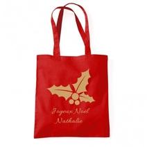 Tote bag personnalisé de Noël rouge
