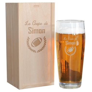 Pinte de bière sportif gravée