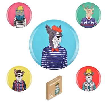 6 assiettes animaux look dandy