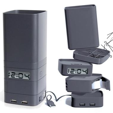 Mini horloge de bureau multi-fonctions