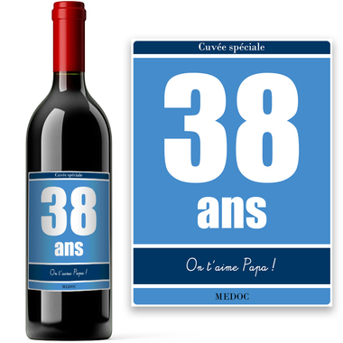 Bouteille de vin anniversaire personnalisée