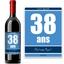 Bouteille de vin avec étiquette anniversaire bleue
