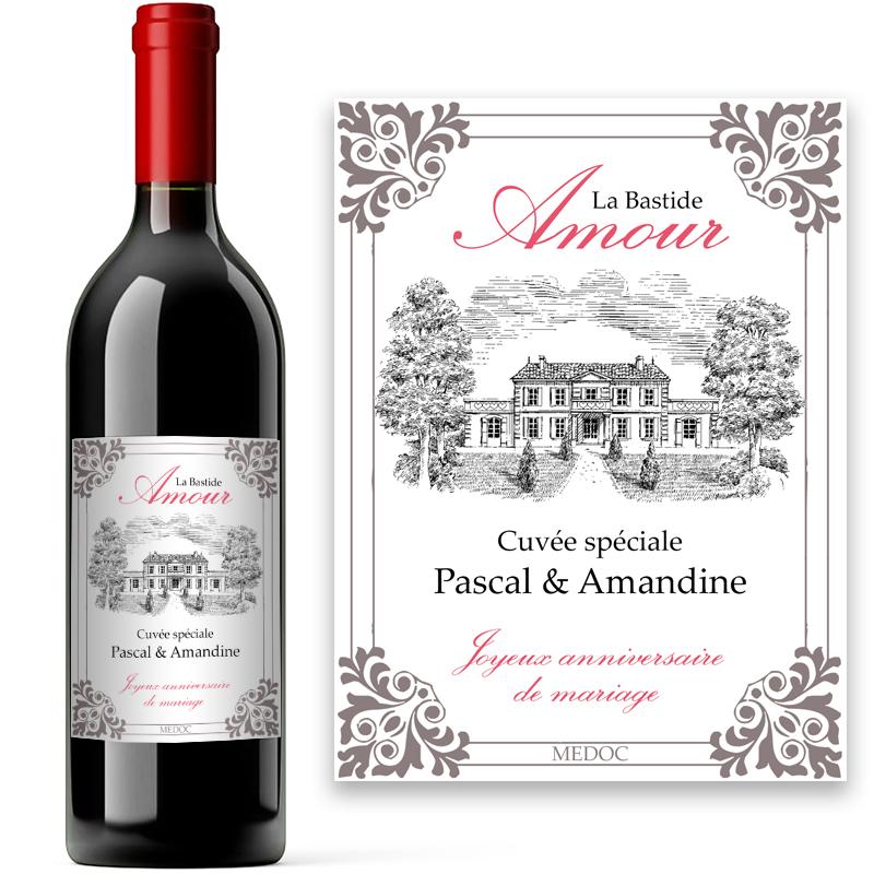 bouteille de vin avec  u00e9tiquette personnalis u00e9e amour