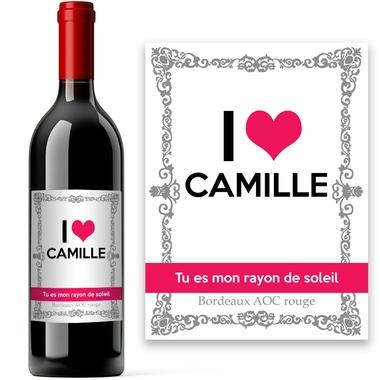 Personnalisé Rouge St Valentin Vin étiquette cadeau