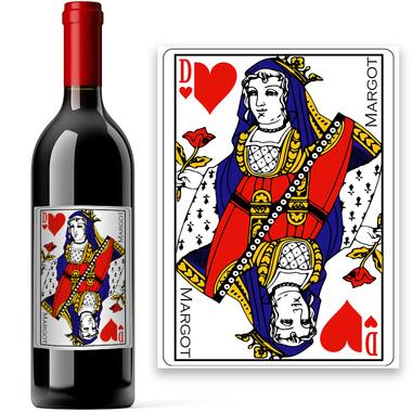Bouteille de vin carte à jouer personnalisée