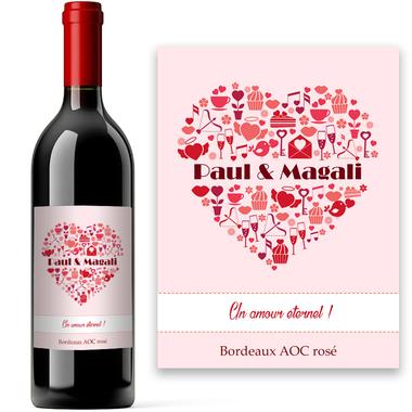 Bouteille de vin Coeur personnalisée
