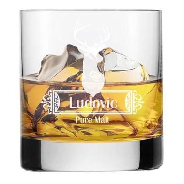 Verre à whisky gravé Saint Hubert